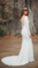 zinnia crepe long sleeve minimal wedding dress