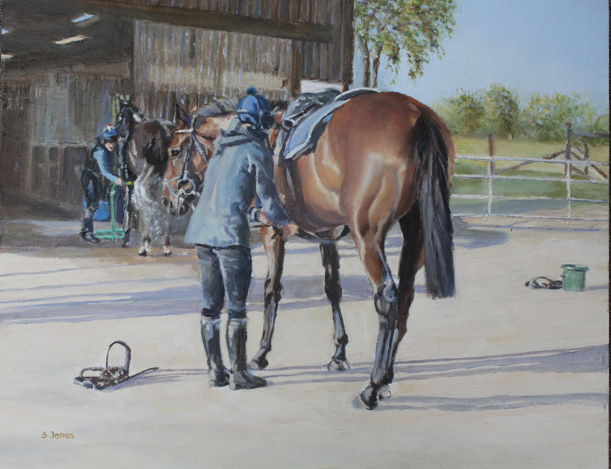 unsaddling after morning exercise