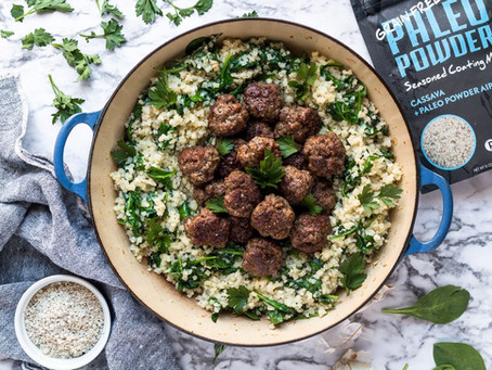 One Pan Meatballs and Cauliflower Rice