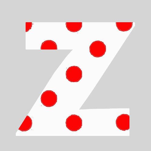 Z - White & Red Polka Dot