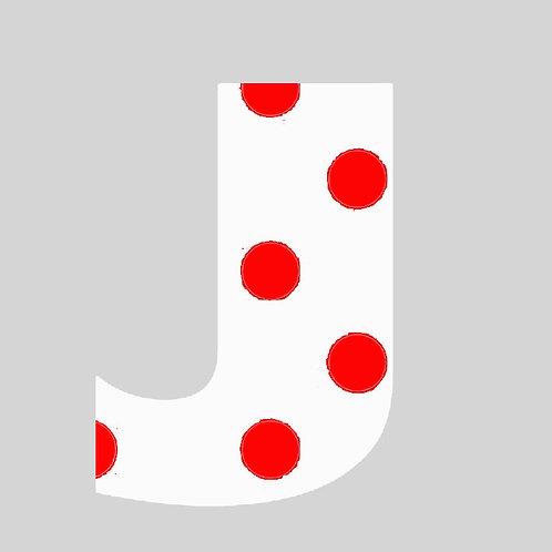 J - White & Red Polka Dot