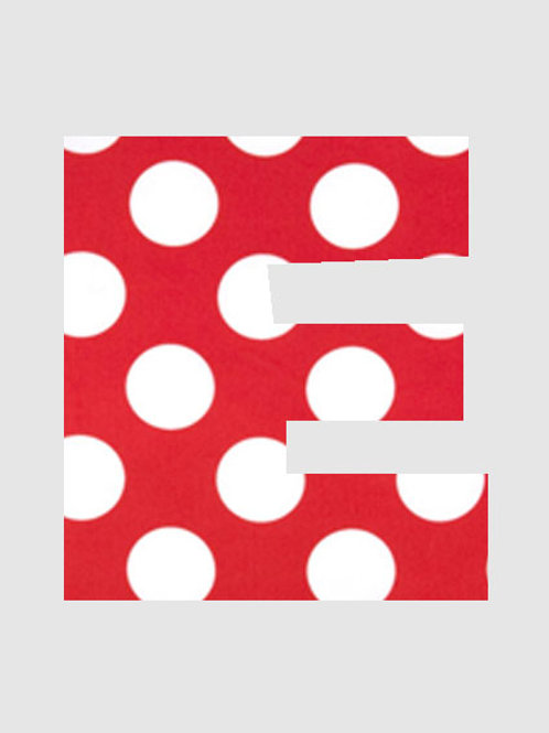 E - Red & White Polka Dot