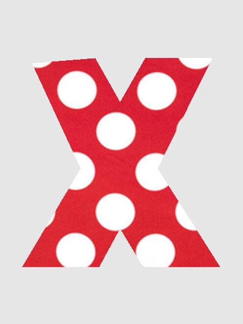 X - Red & White Polka Dot