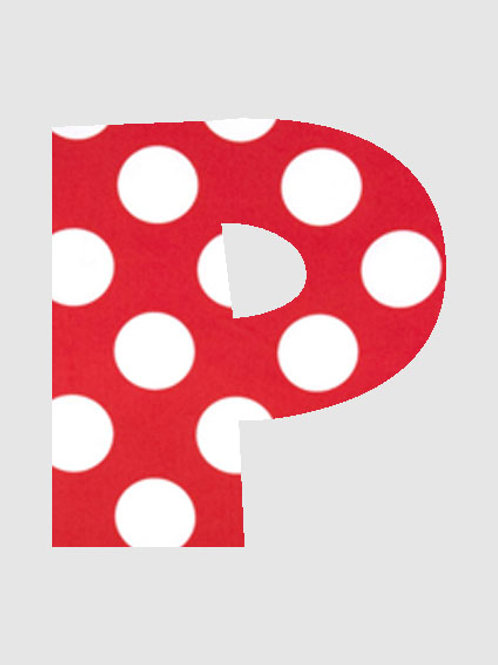 P - Red & White Polka Dot