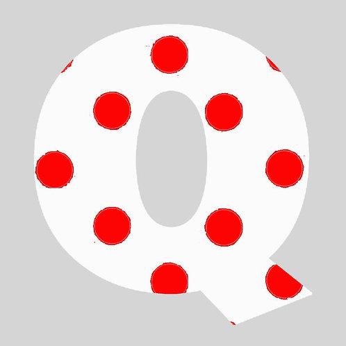 Q - White & Red Polka Dot