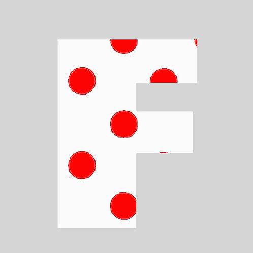 F - White & Red Polka Dot