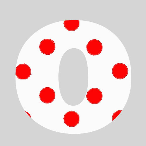 O - White & Red Polka Dot