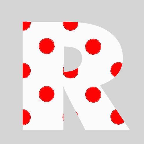 R - White & Red Polka Dot