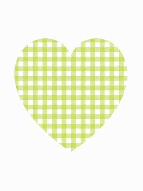 Heart - Green Gingham