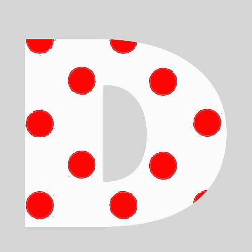 D - White & Red Polka Dot