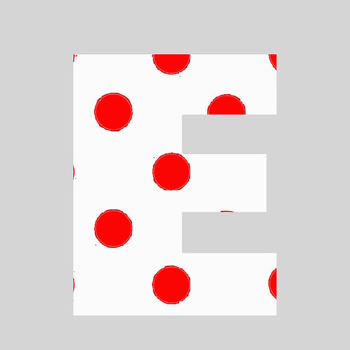 E - White & Red Polka Dot