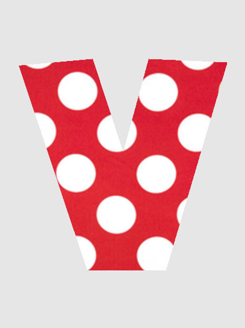 V - Red & White Polka Dot