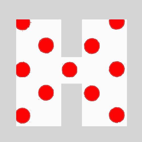 H - White & Red Polka Dot