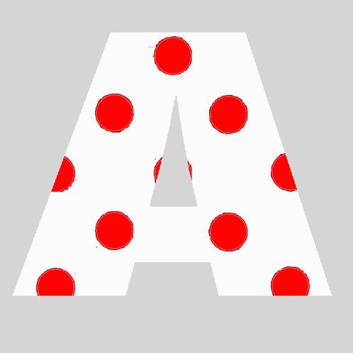 A - White & Red Polka Dot