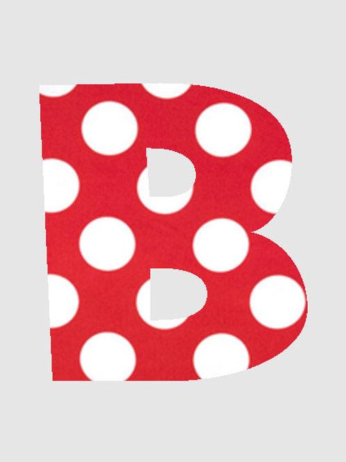 B - Red & White Polka Dot