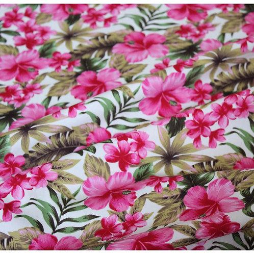 "Cotton Poplin Pink Hibiscus 45"""
