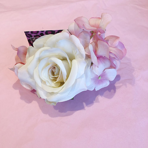 Luxury hair flower- pink and cream double
