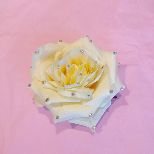 Luxury hair flower- crystal lemon rose