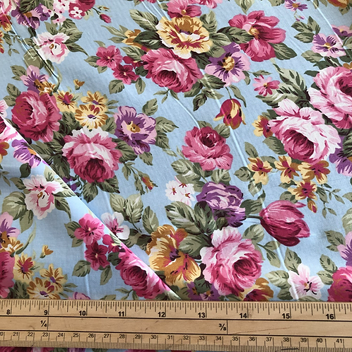 5 meter bundle aqua blossom cotton