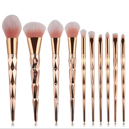 Rose Gold Diamond 10pc. Brush Kit