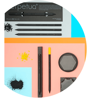 Perpetua the pencil realized of recovered recycled graphite from the industrial production of electrodes.
