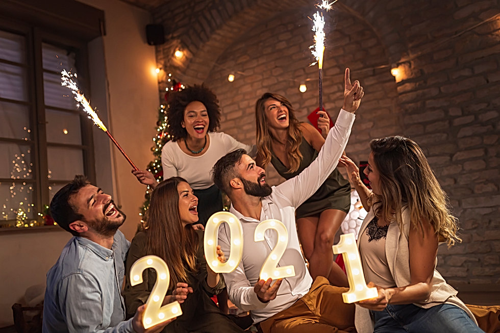 Group of young friends having fun at New