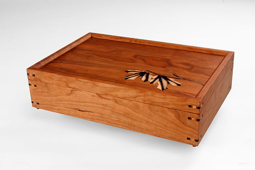 cherry maple wooden box with burned leaf inlay