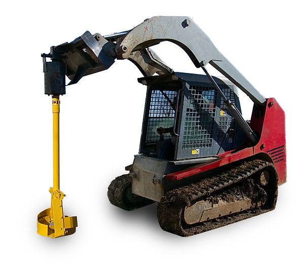 skid steer with belling auger attached