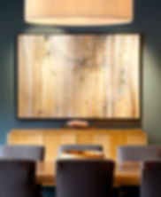 San Francisco contemporary maple dining room, Kari Taylor painting, Mei oval suspension light, Baker Knapp & Tubbs dining table and sideboard, Romo fabric