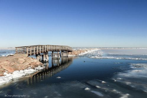Plymouth Breakwater in winter