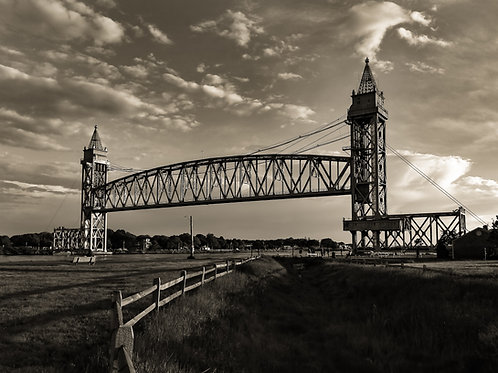 Cape Cod Canal Railroad Bridge black & white