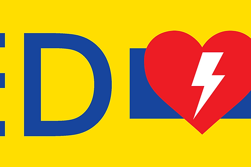 Yellow AED RIGHT Sticker - 100mm x 355mm (height x width)