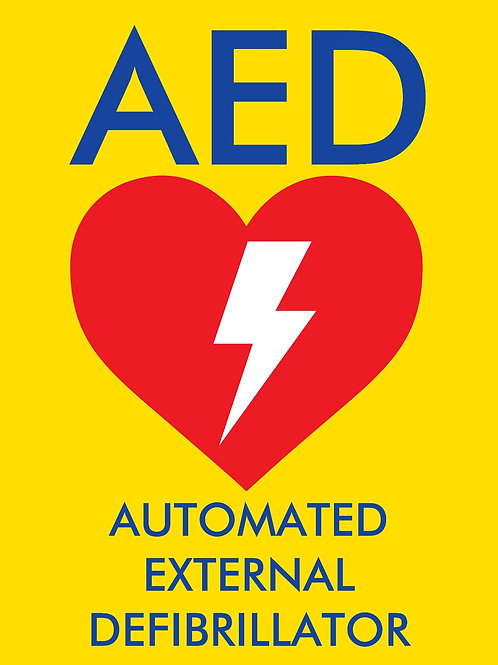 Yellow AED Sticker - A4 sized 297mm x 210mm (height x width)