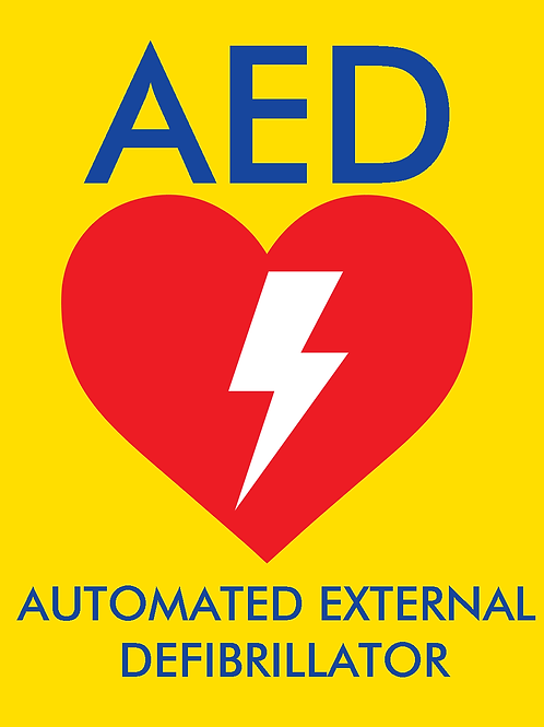 Yellow AED Sticker - 120mm x 100mm (height x width)