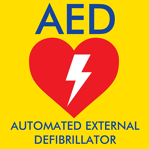 Yellow AED Sticker - 225mm x 225mm (height x width)