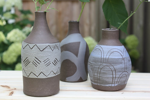 grey blue vase collection