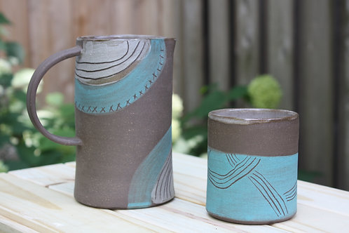 teal and grey pitcher