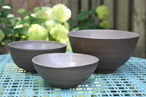 earthy brown serving bowls set