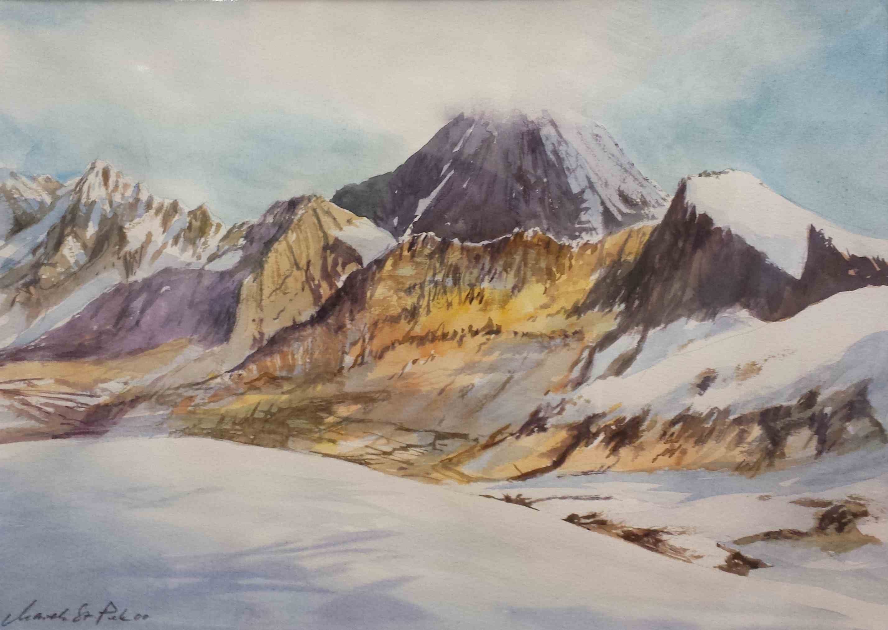 alpine Landschaft - Aquarell