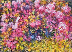 Blumenstück mit rosa Hortensien-Öl-Leinw