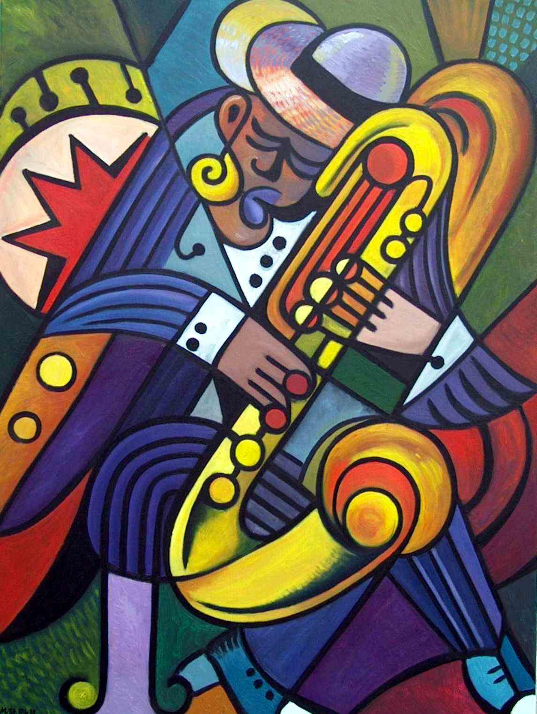 Saxophonspieler in sich versunken-öl-lw