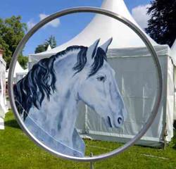 Pferdekopf weiss drehbar als Wetterfahn-Durchmesser ca 54cme