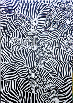 zebraherde-02-oel-leinwand-80x100cm-mare