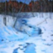 verschneiter bachlauf, oel-leinwand, 100