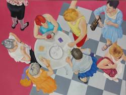 Theaterpause-Frauengruppe von oben