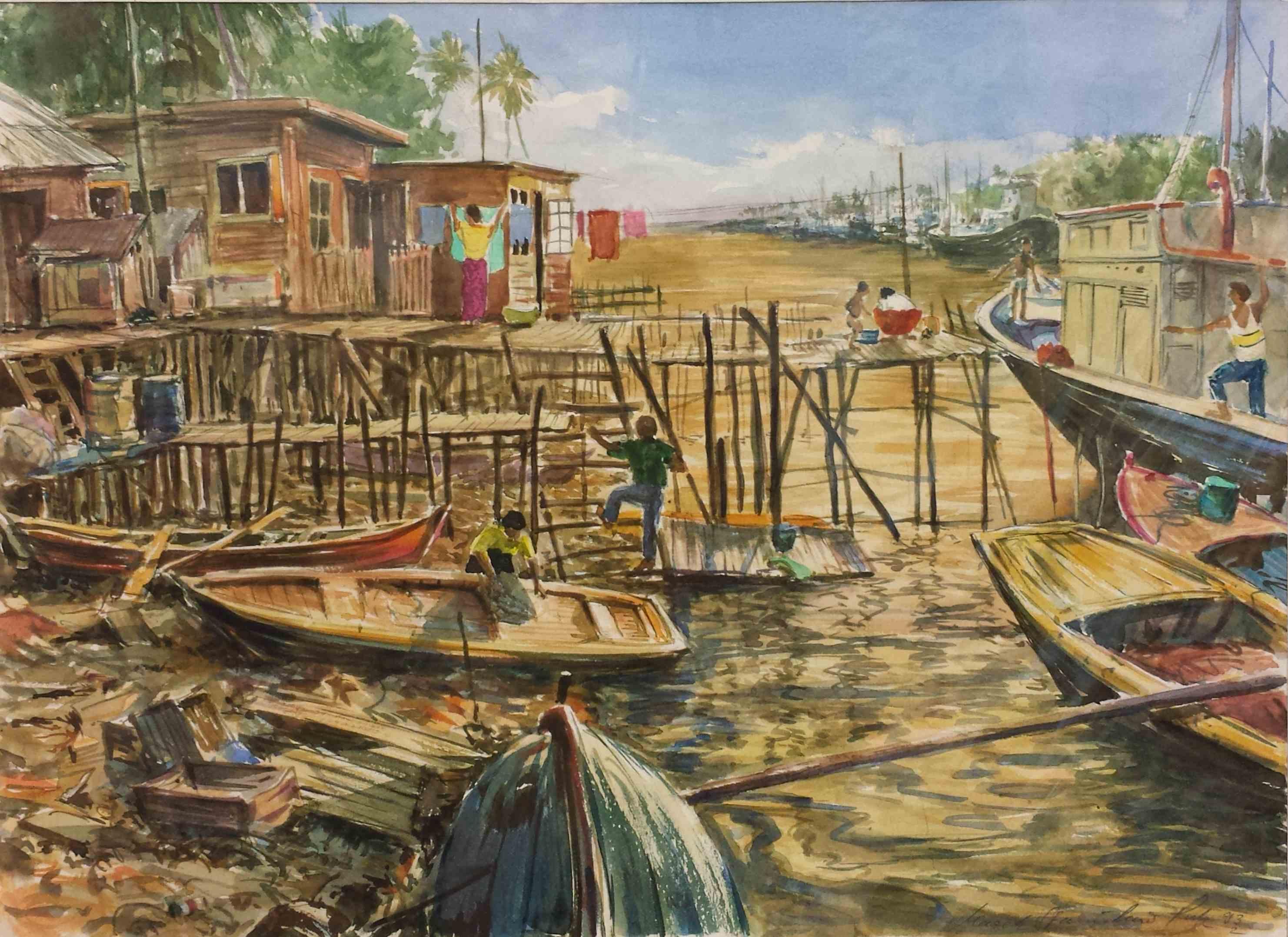 Hafen von Pekanbaru auf Sumatra