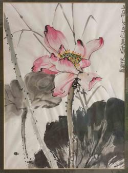 Lotusblüte auf Japanpapier coloriert