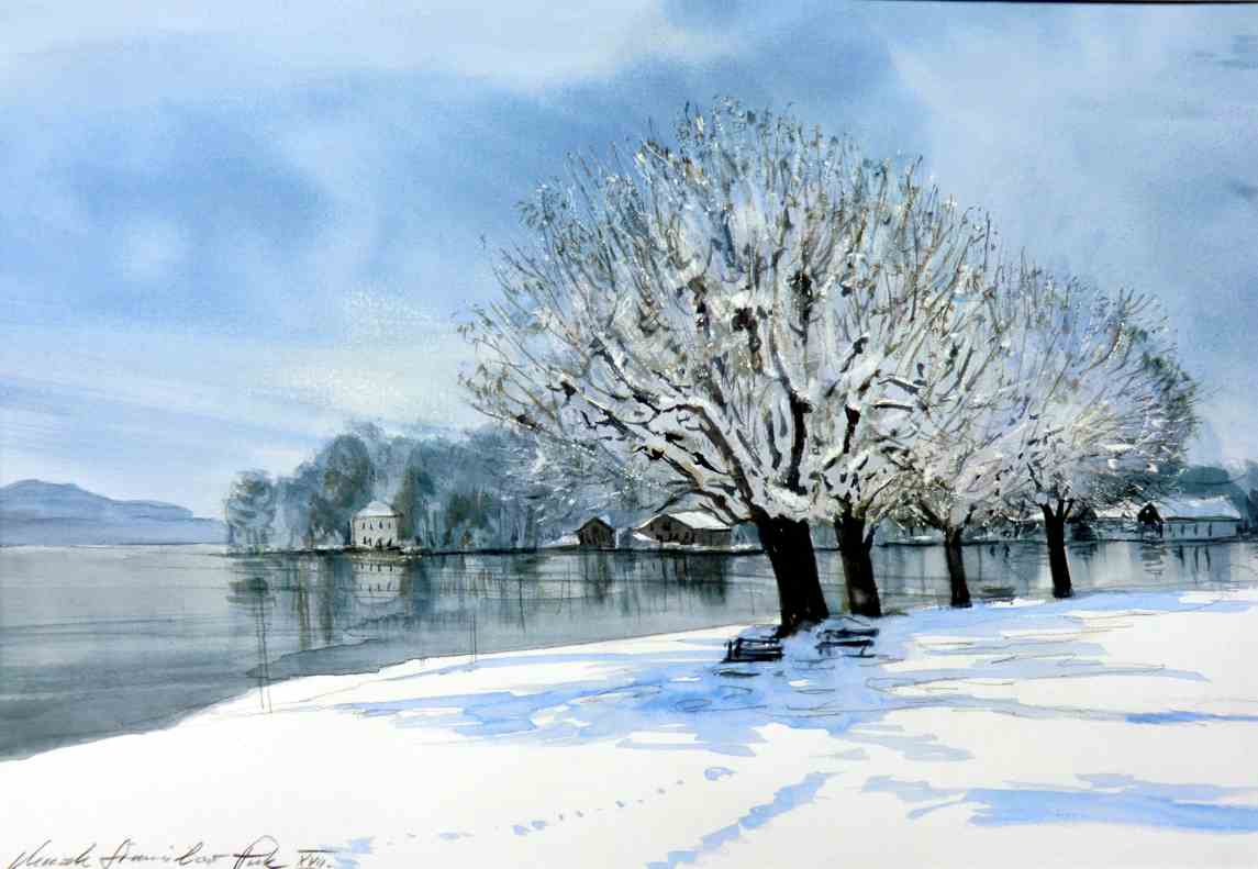 winternachmittag am see aquarell