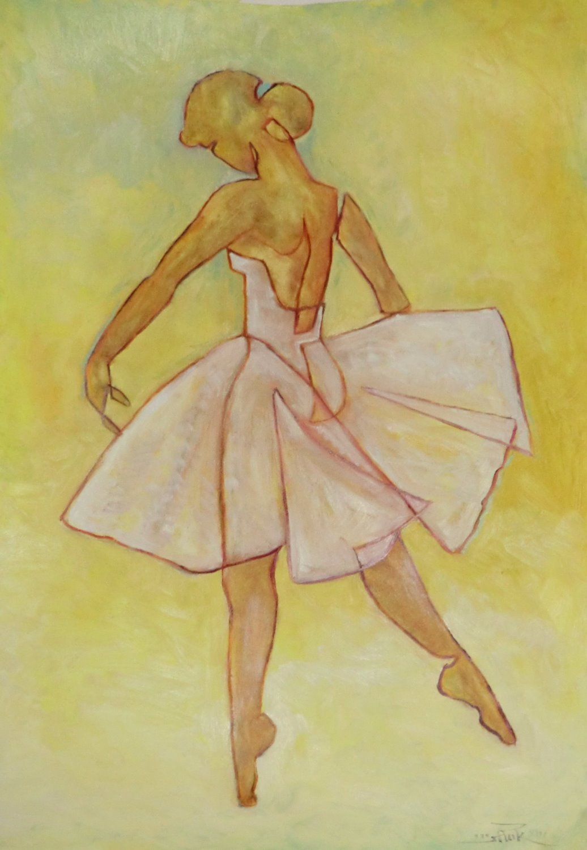 one-line-girl-ballerina-oel-leinwand
