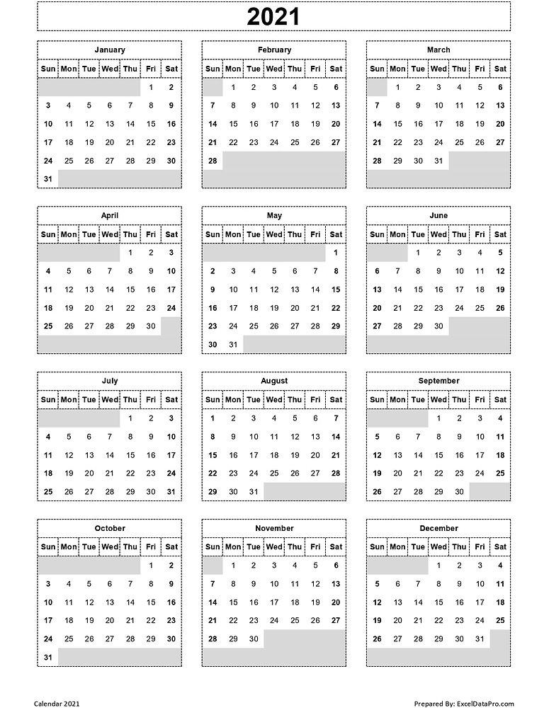 2021-Yearly-Calendar-Sun-Start-Ink-Saver